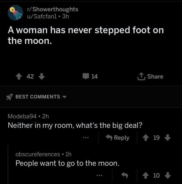 Text - r/Showerthoughts u/Safcfanl 3h A woman has never stepped foot on the moon. 42 TShare 14 BEST COMMENTS Modeba94 2h Neither in my room, what's the big deal? Reply 19 obscureferences 1h People want to go to the moon. 10