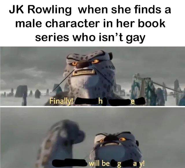 Funny meme about JK Rowling.
