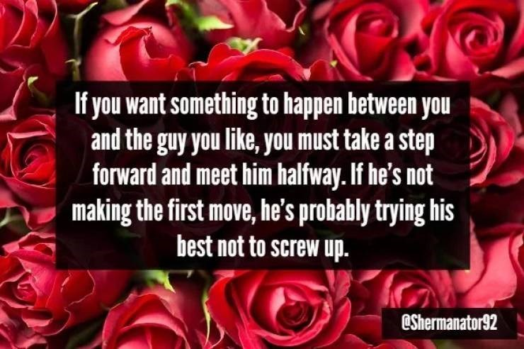 Garden roses - If you want something to happen between you and the guy you like, you must take a step forward and meet him halfway. If he's not making the first move, he's probably trying his best not to screw up. eShermanator92