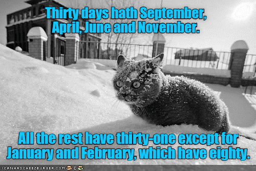 Snout - Thirty days hath September, AprilJune and November. Allthe rest have thirty-one excepttor January and February, which have eighty. ICANHASCHEEZEURGERCOM