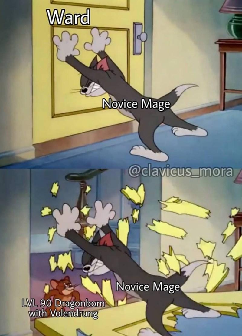 dank meme - Cartoon - Ward Novice Mage @clayicus mo Novice Mage LVL 90 Dragonborn with Volendrung