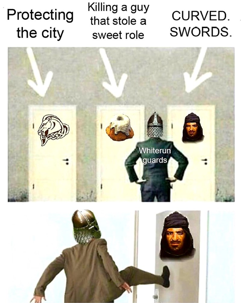 dank meme - T-shirt - Killing that stole a Protecting the city a guy CURVED. SWORDS sweet role Whiterun guards 1