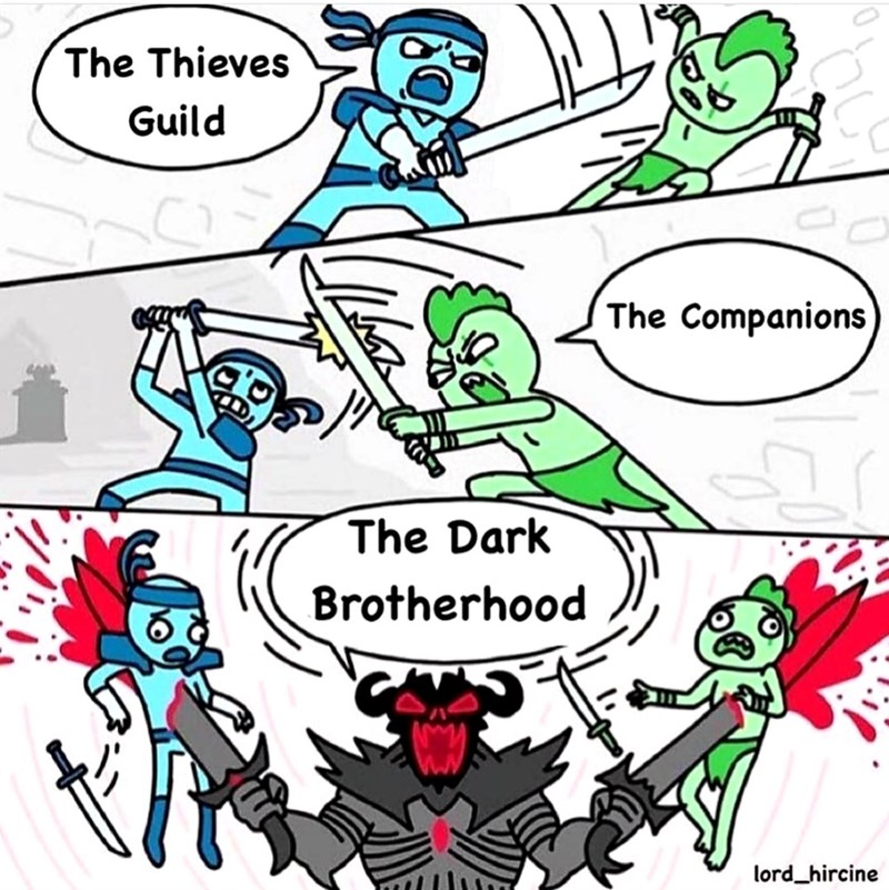 dank meme - Text - The Thieves Guild The Companions The Dark Brotherhood lord_hircine