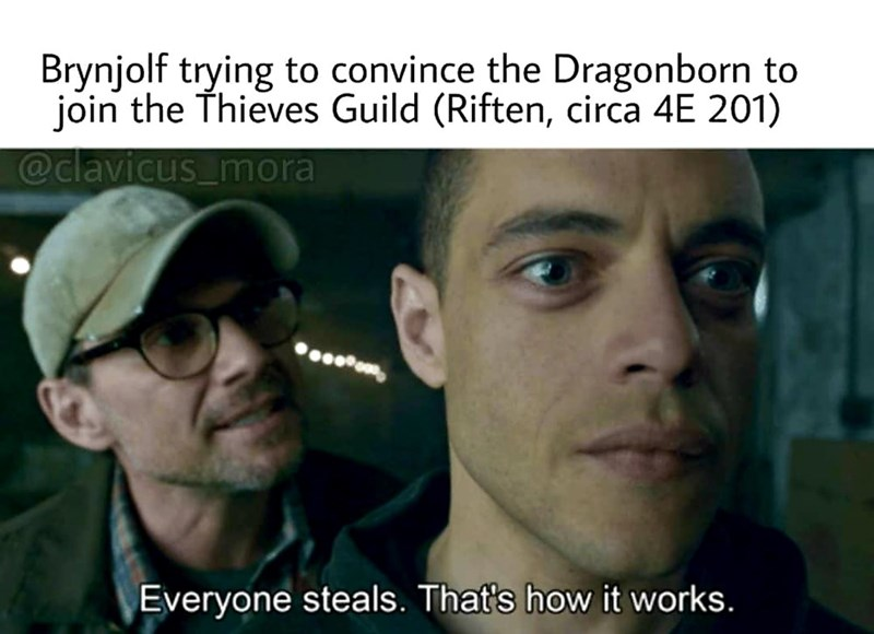 dank meme - Photo caption - Brynjolf trying to convince the Dragonborn to join the Thieves Guild (Riften, circa 4E 201) @clavicus_mora Everyone steals. That's how it works.