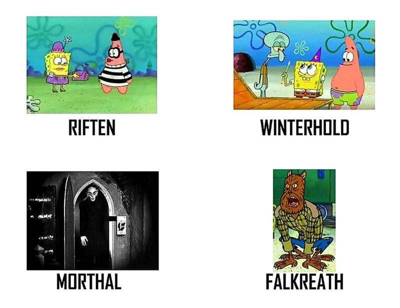 dank meme - Cartoon - RIFTEN WINTERHOLD FALKREATH MORTHAL