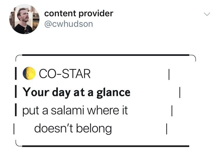 Text - content provider @cwhudson CO-STAR Your day at a glance T put a salami where it doesn't belong | |