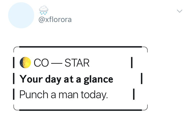 Text - @xflorora CO STAR |Your day at a glance Punch a man today. | -