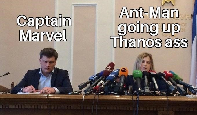 meme - Spokesperson - Ant-Man going up Thanos ass Captain Marvel