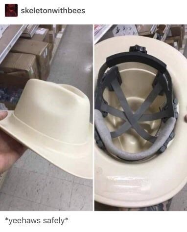 """country music meme - Helmet - skeletonwithbees """"yeehaws safely"""
