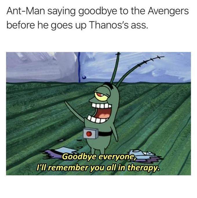 meme - Cartoon - Ant-Man saying goodbye to the Avengers before he goes up Thanos's ass. Goodbye everyone, Hl remember you all in therapy