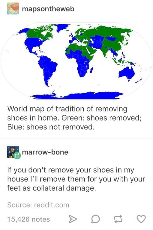 Text - mapsontheweb World map of tradition of removing shoes in home. Green: shoes removed; Blue: shoes not removed. marrow-bone If you don't remove your shoes in my house l'll remove them for you with your feet as collateral damage. Source: reddit.com 15,426 notes