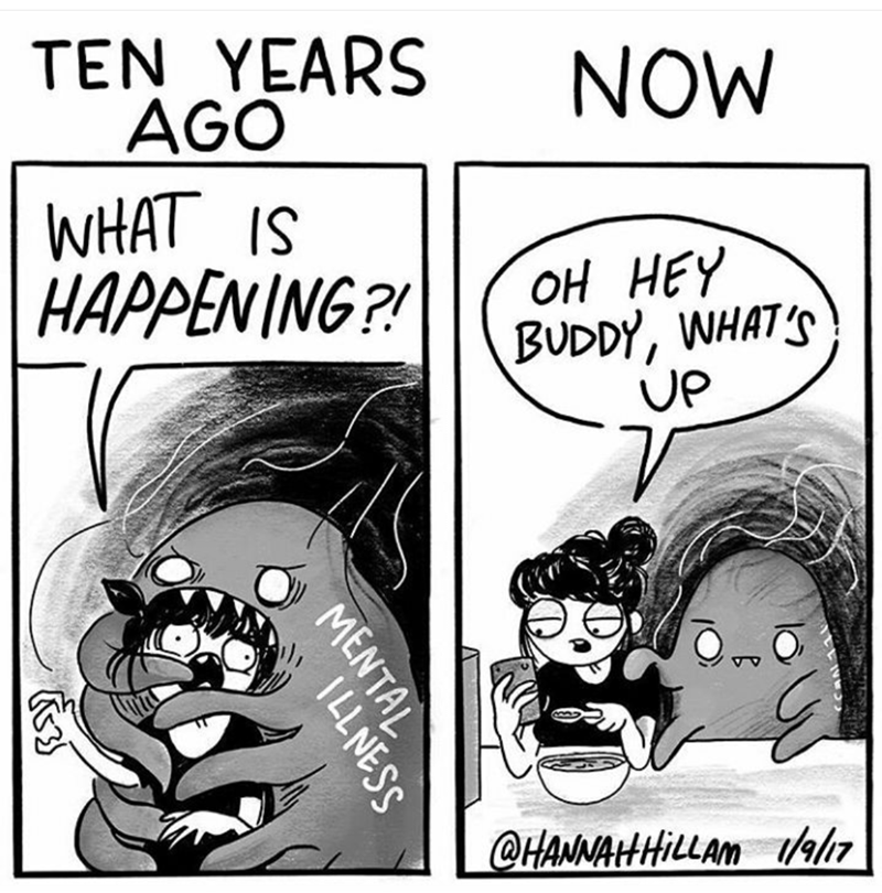 Cartoon - TEN YEARS AGO WHAT IS  HAPPENING?! NOW оН НЕY BUDDY, WHATS UP @HANNAHHILLAM a MENTAL ILLNESS