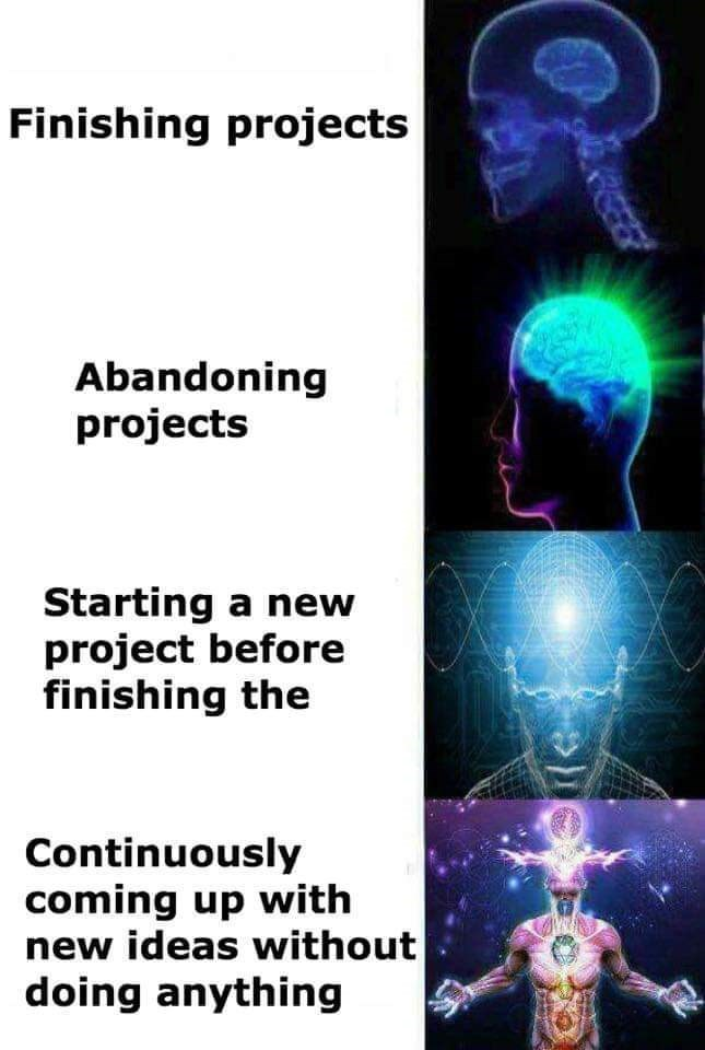 Medical imaging - Finishing projects Abandoning projects Starting a new project before finishing the Continuously coming up with new ideas without doing anything REEE
