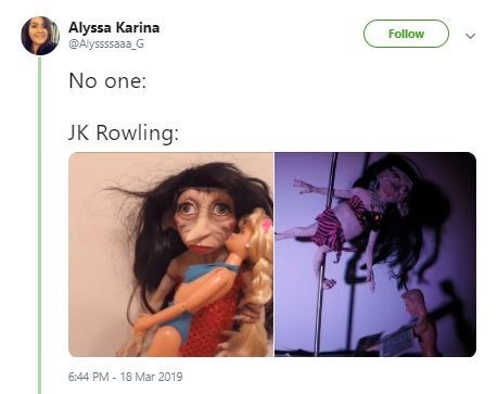Text - Alyssa Karina @Alyssssaaa G Follow No one: JK Rowling: 6:44 PM- 18 Mar 2019