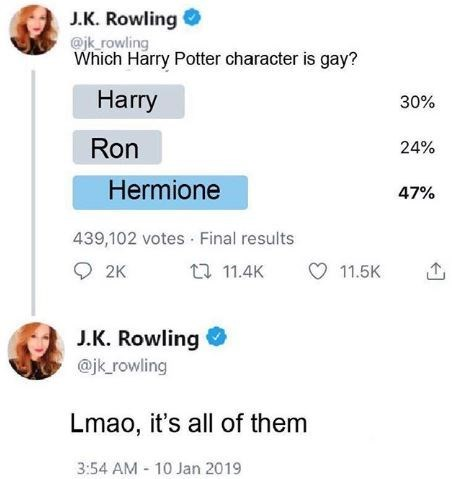 Text - J.K. Rowling @jk rowling Which Harry Potter character is gay? Harry 30% Ron 24% Hermione 47% 439,102 votes Final results 2K 11.4K 11.5K J.K. Rowling @jk rowling Lmao, it's all of them 3:54 AM 10 Jan 2019