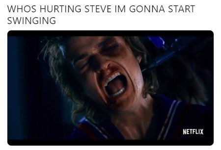 """Caption that reads, """"Who's hurting Steve I'm gonna start swinging"""" above a still from the trailer of Steve Harrington apparently screaming in pain"""