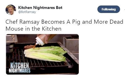 """Tweet that reads, """"Chef Ramsay becomes a pig and more dead mouse in the kitchen"""""""