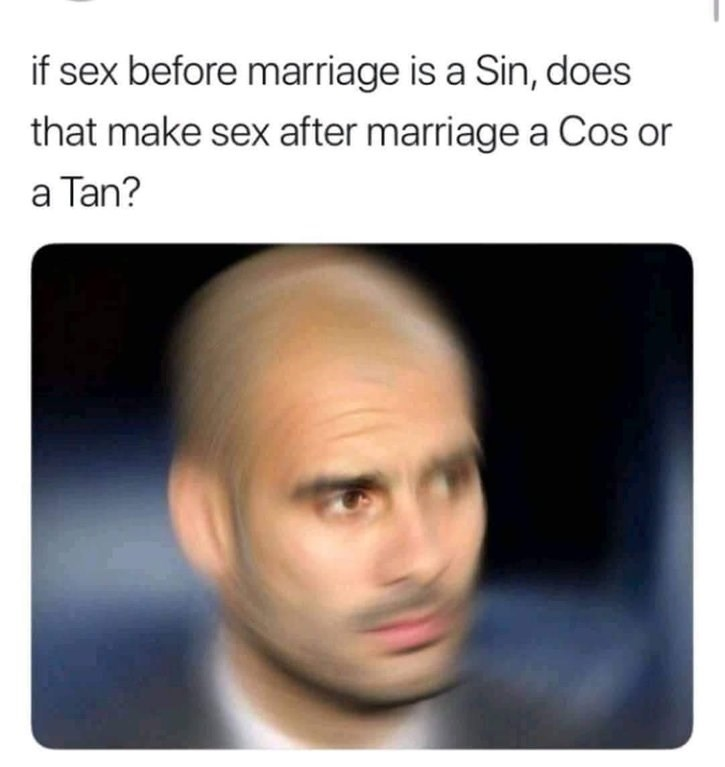 Face - if sex before marriage is a Sin, does that make sex after marriage a Cos or a Tan?