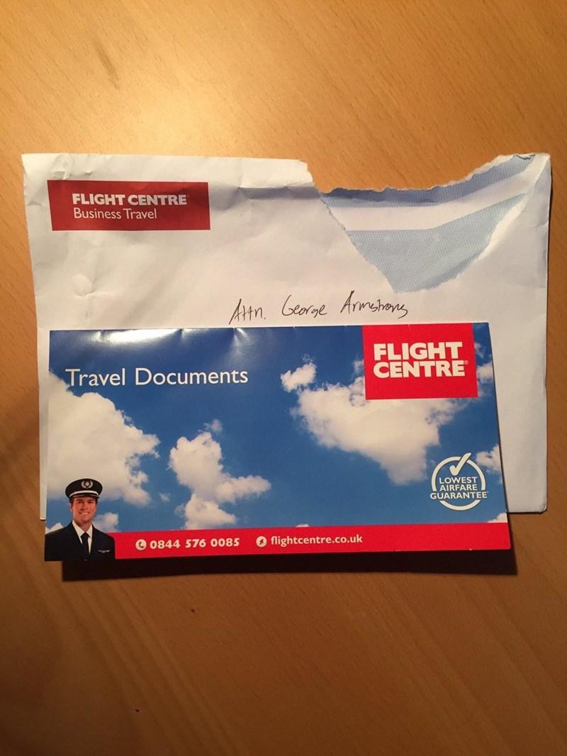 Sky - FLIGHT CENTRE Business Travel Atn Cearge Armehans FLIGHT CENTRE Travel Documents LOWEST AIRFARE JARANTEE O flightcentre.co.uk 0844 576 0085