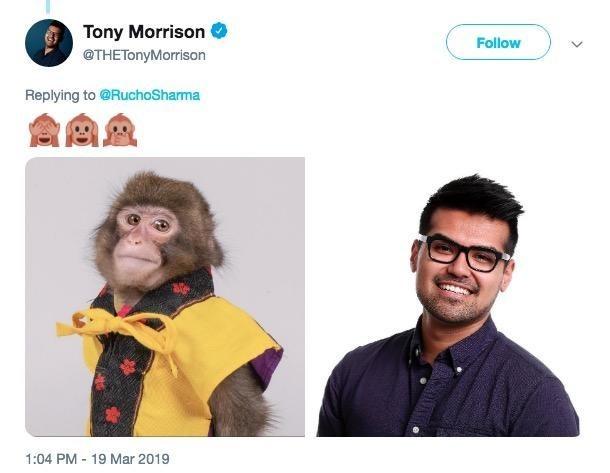monkey journalist meme comparing an actual journalist to the monkey headshot