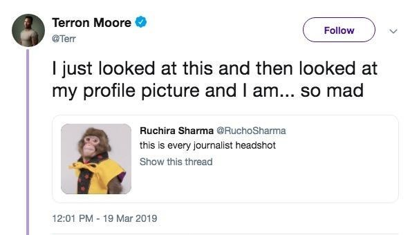 monkey meme of a journalist pissed that his headshot looks like a pic of a monkey