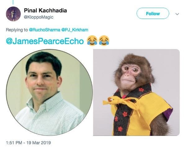 monkey meme comparing a monkey to every journalists headshot