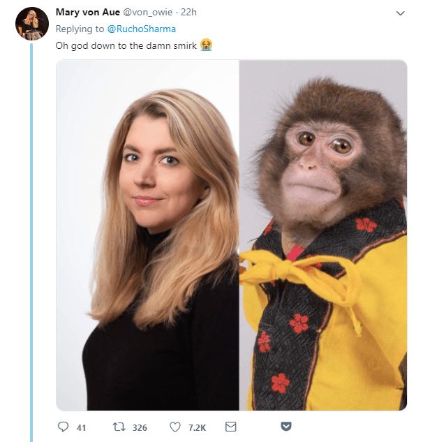 monkey meme comparing a pic of a monkey to a journalists headshot