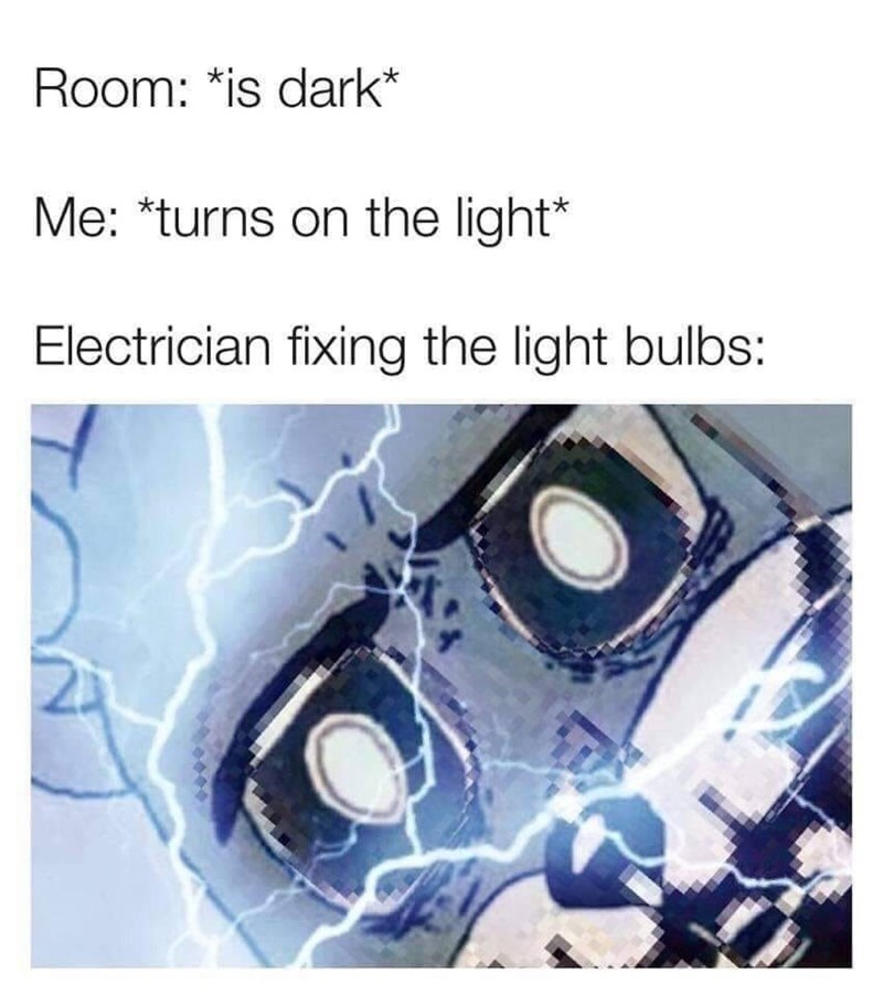 meme - Text - Room: *is dark* Me: *turns on the light* Electrician fixing the light bulbs: