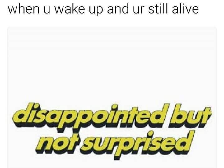 Text - when u wake up and ur still alive disappointed but not surprised