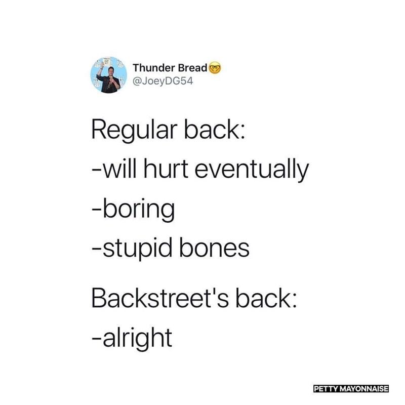 Text - Thunder Bread @JoeyDG54 Regular back: -will hurt eventually -boring -stupid bones Backstreet's back: -alright PETTY MAYONNAISE