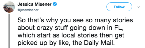 Text - Jessica Misener Follow @jessmisener So that's why you see so many stories about crazy stuff going down in FL which start as local stories then get picked up by like, the Daily Mail