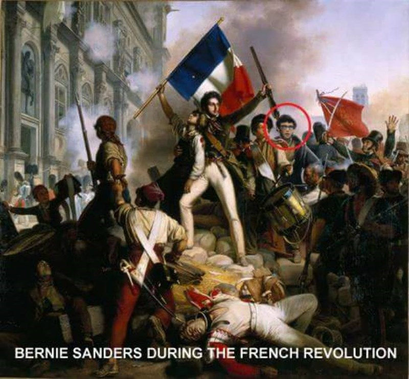 classical art meme of a young Bernie Sanders in a painting of the French Revolution
