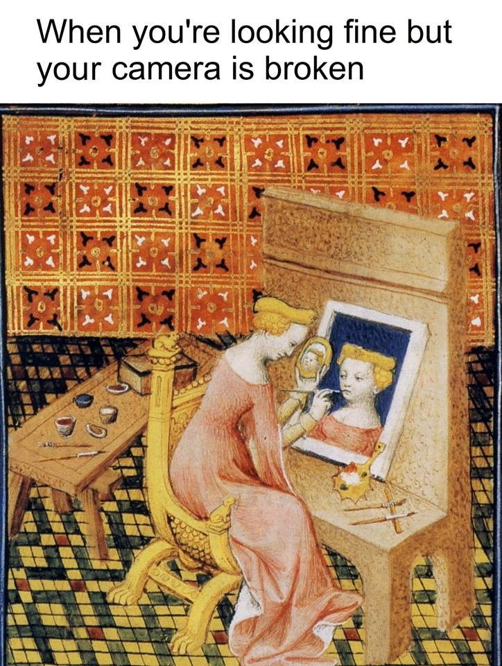 "classical art meme with caption that reads, ""When you're looking fine but your camera is broken"" above a painting of a woman painting a picture of herself"