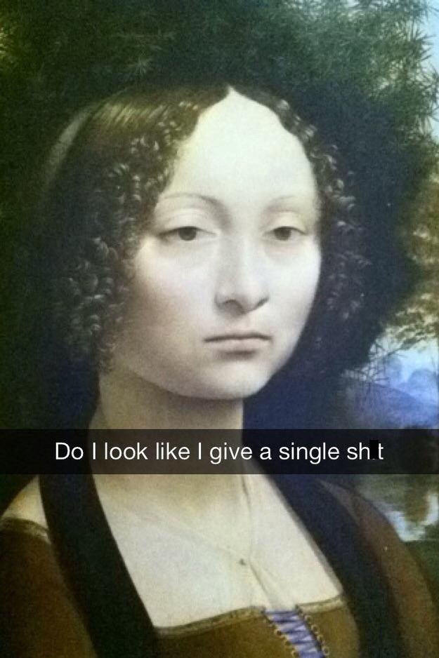 classical art meme of a woman with a dead expression who doesn't give a sh*t