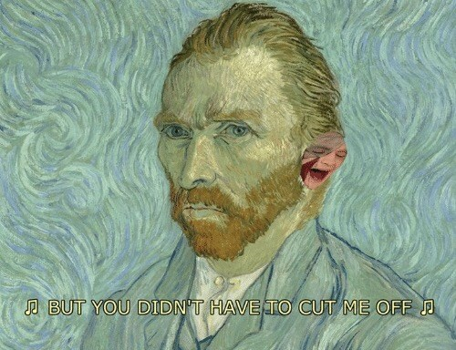 classical art meme of Gotye as Van Gogh's ear