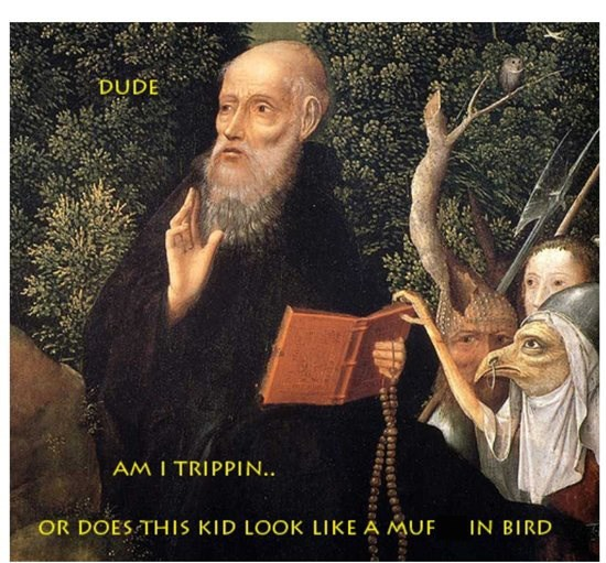 classical art meme of a priest looking concerned next to a person with a bird face