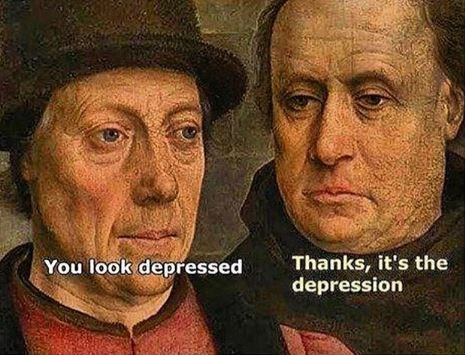 classical art meme of two somber looking men next to each other