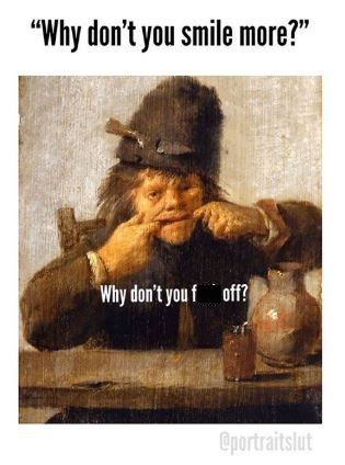 classical art meme of person stretching their mouth open with the fingers