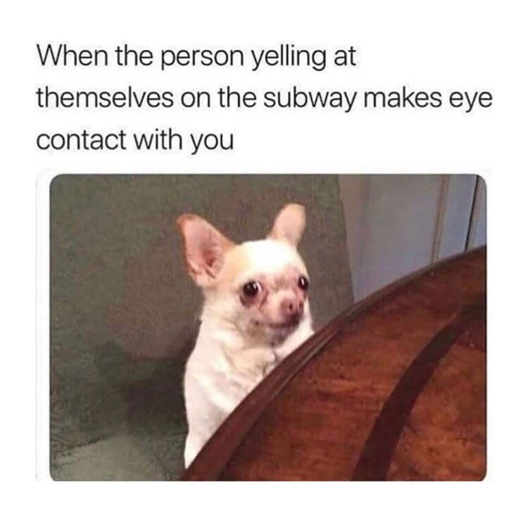 Funny meme about when a crazy person makes eye contact with you on the subway.