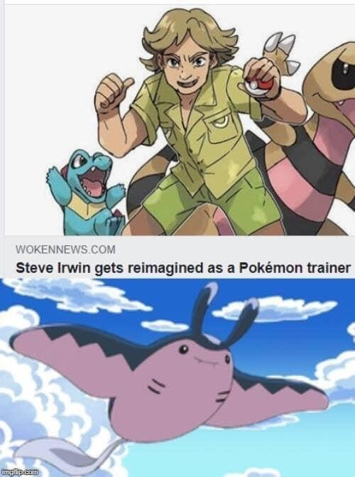 Funny meme about steve irwin as pokemon trainer.
