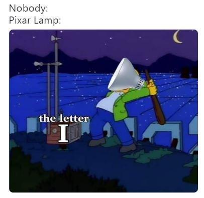 Cartoon - Nobody: Pixar Lamp: the letter