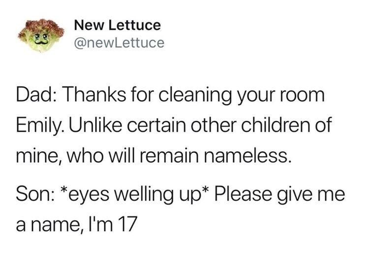 Text - New Lettuce @newLettuce Dad: Thanks for cleaning your room Emily. Unlike certain other children of mine, who will remain nameless. Son: *eyes welling up* Please give me a name, I'm 17