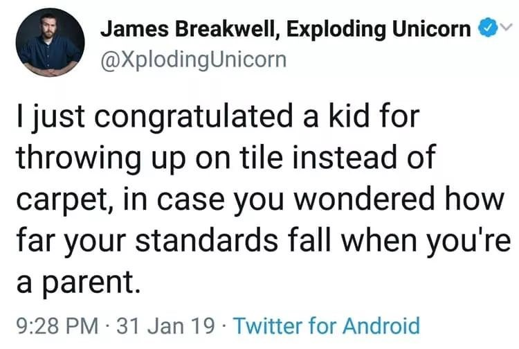 Text - James Breakwell, Exploding Unicorn @XplodingUnicorn just congratulated a kid for throwing up on tile instead of carpet, in case you wondered how far your standards fall when you're a parent 9:28 PM 31 Jan 19 Twitter for Android