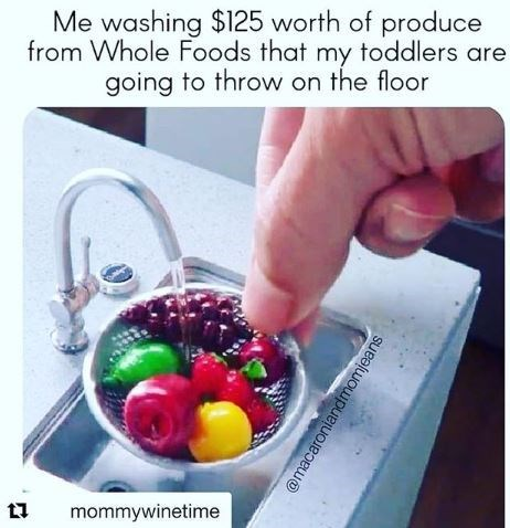 """Caption that reads, """"Me washing $125 worth of produce from Whole Foods that my toddlers are going to throw on the floor"""" above a pic of someone washing a tiny bowl of fruit"""