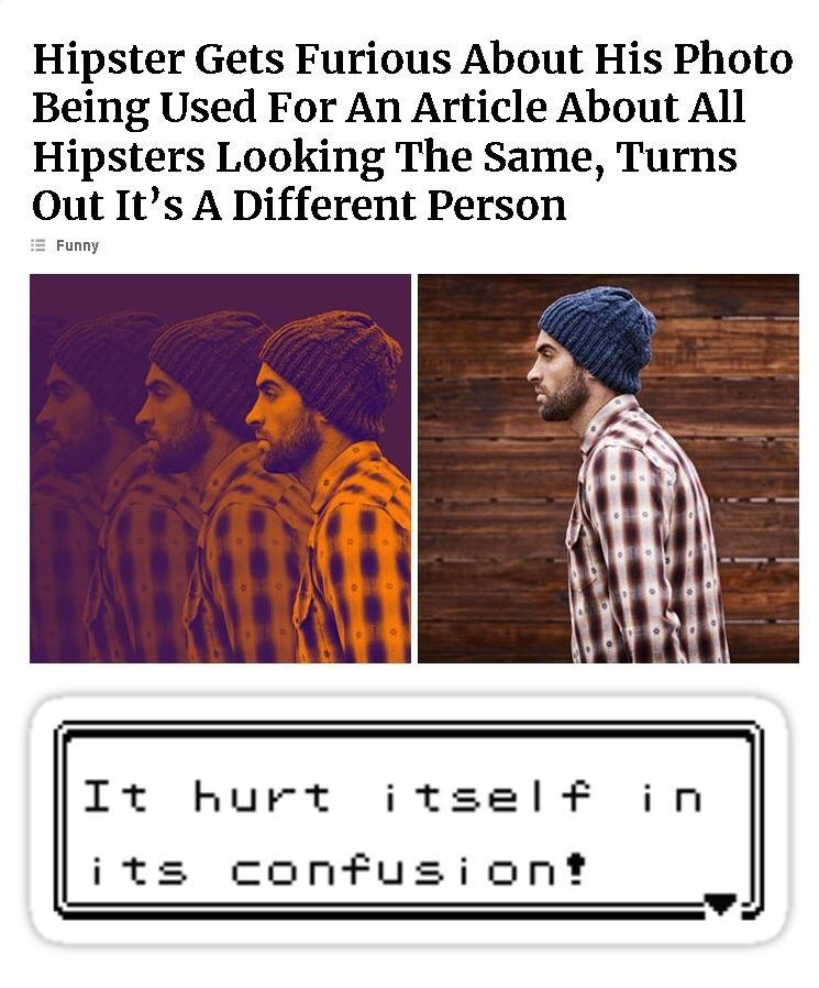 meme - Text - Hipster Gets Furious About His Photo Being Used For An Article About All Hipsters Looking The Same, Turns Out It's A Different Person EFunny It hurt itself in i ts confusion!