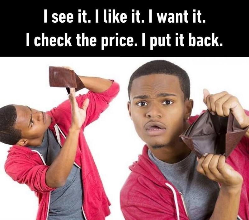 meme - Child - see it. I like it. I want it. I check the price. I put it back.