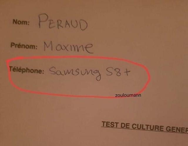literal jokes - Text - PERAUD Nom: Maxme Prénom: Téléphone: SamSune S8+ Zouloumann TEST DE CULTURE GENER