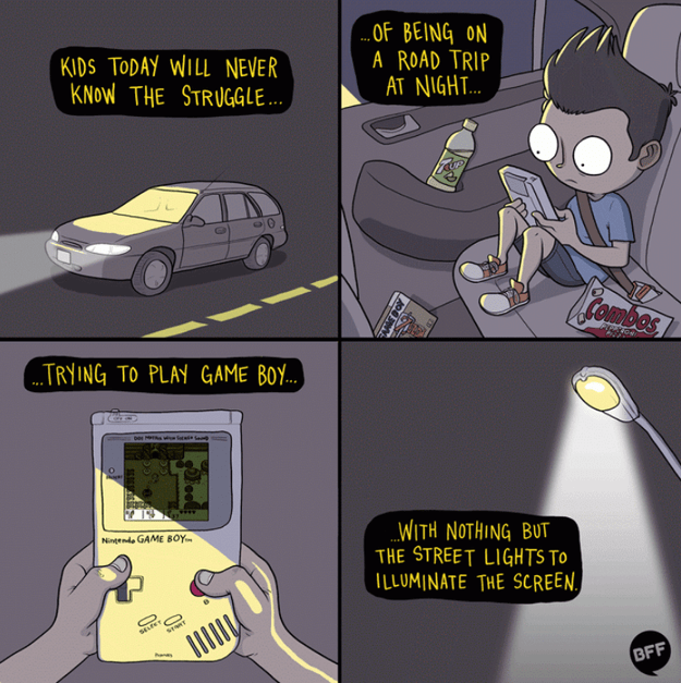 comic about playing a game boy at night before it had inner lighting