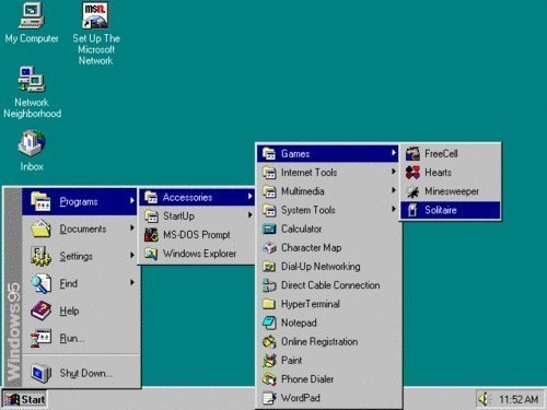 pic of a Windows 95 desktop and the menu path to playing Solitaire