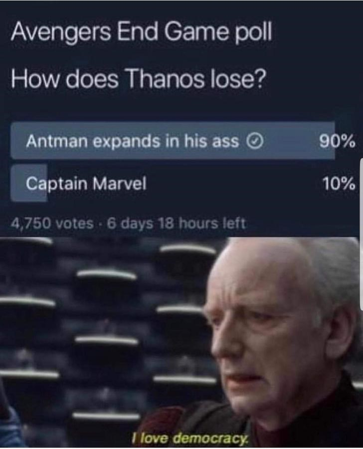 Text - Avengers End Game poll How does Thanos lose? Antman expands in his ass 90% Captain Marvel 10% 4,750 votes 6 days 18 hours left Tlove democracy